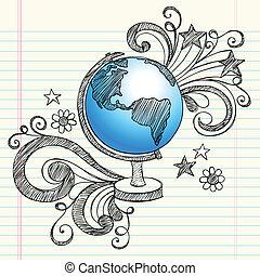 planeta, doodles, sketchy, globo, escola