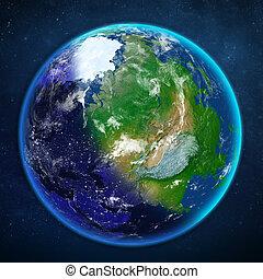 planeta, earth., vista, de, space.