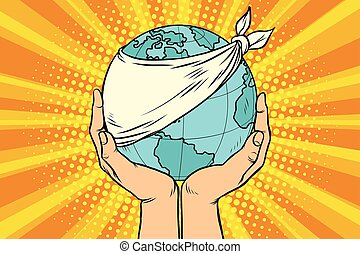 planeta, ecología, tierra, enfermo, naturaleza