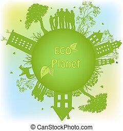 planeta, ekologiczny, zielony