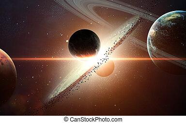 planeta, elementos, exposion., nasa, amueblado