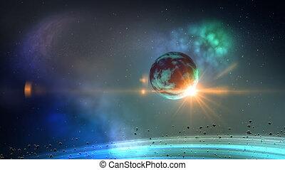 planeta, em, espaço, volta