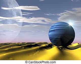 planeta, en, el, desierto