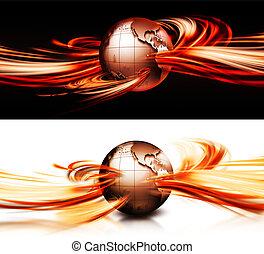 planeta, en, el, fuego