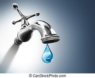 planeta, en, gota agua
