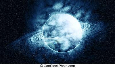 planeta, en, hermoso, espacio