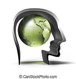 planeta, en, la cabeza