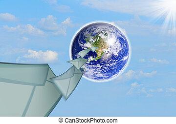 planeta, envíe, tierra