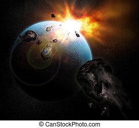 planeta, estallar