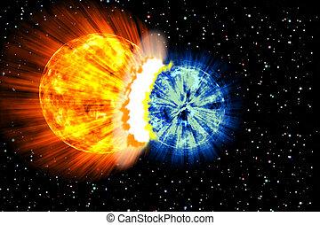 planeta, explosão