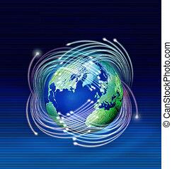 planeta, fibras, óptico, ao redor, terra