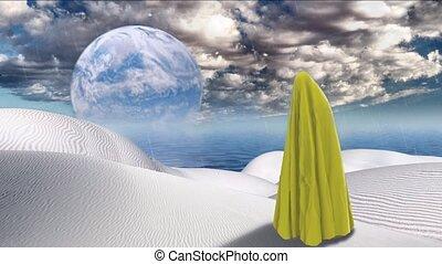planeta, figura, cloth., pokryty, odbijał się, bez końca, ...