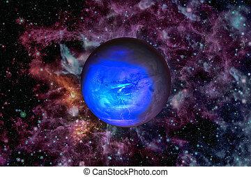 planeta, fondo., neptune., espacio exterior