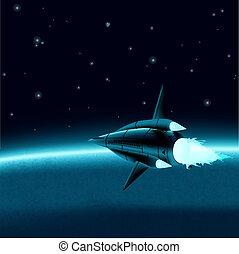 planeta, frente, navio, espaço