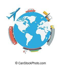 planeta, globo, concepto, logístico