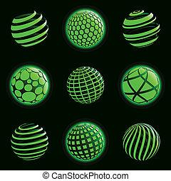 planeta, icons., technologia