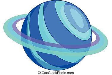 planeta, ikona, styl, saturn, rysunek