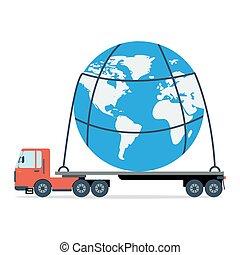 planeta, inteiro, carrega, caminhão