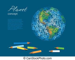 planeta, lápices, bosquejo, colorido, tierra