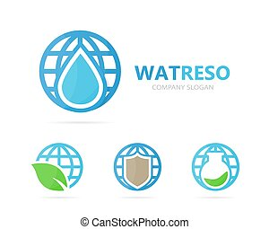 planeta, logotipo, óleo, combination., vetorial