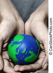 planeta, mãos