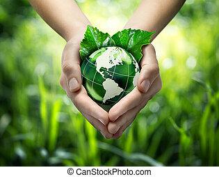 planeta, mãos, coração, seu, -, eua