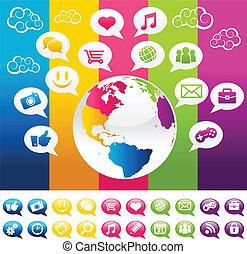 planeta, mídia, social, coloridos, terra