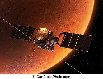 planeta, marte, el moverse en órbita alrededor, nave ...