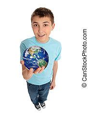 planeta, menino, segurando, terra