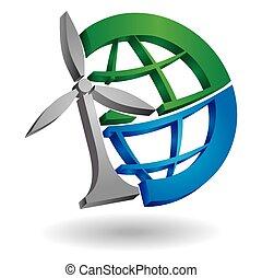 planeta, moinho de vento, ilustração