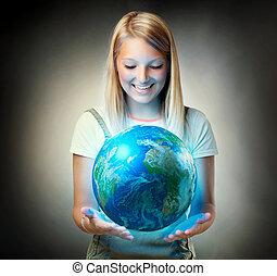planeta, niña, tenencia, earth., futuro, concepto