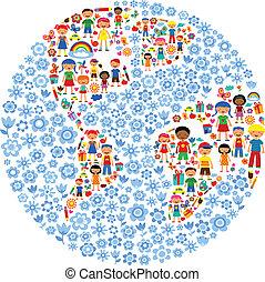 planeta, od, dzieciaki, barwny, wektor, ilustracja