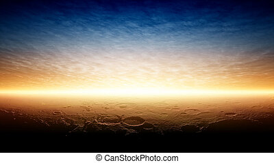 planeta, pôr do sol, marte