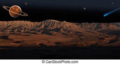 planeta, (panorama), rojo
