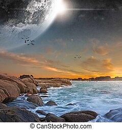 planeta, Plaża, krajobraz