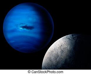 planeta, quadro, netuno, digital