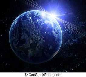 planeta, realista, tierra, espacio