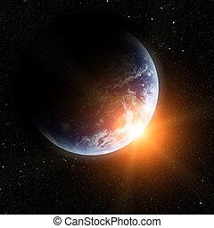 planeta, realistyczny, ziemia, przestrzeń