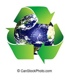 planeta, reciclar, tierra, símbolo