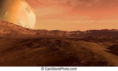 planeta rojo, con, mars-like, luna