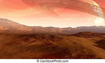 planeta rojo, con, un, anillado, luna