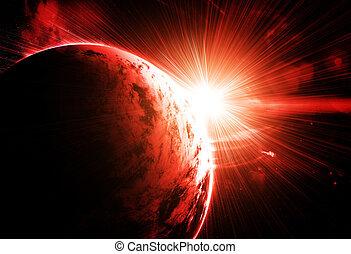 planeta rojo, con, un, destello, de, sol