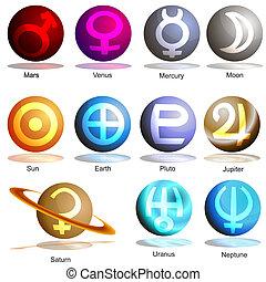 planeta, símbolo, conjunto, 3d