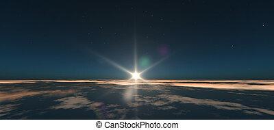 planeta, salida del sol, de, espacio