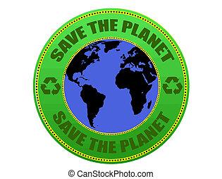 planeta, salvar, etiqueta