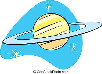 planeta, saturn, retro