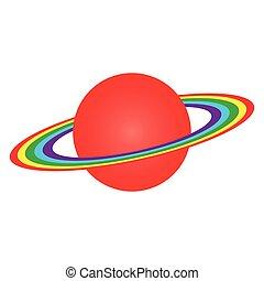 planeta, saturno, anillos, vector