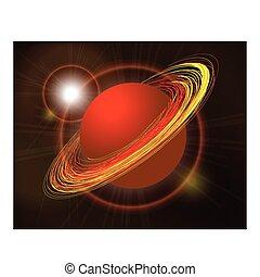planeta, saturno, negro, ilustración