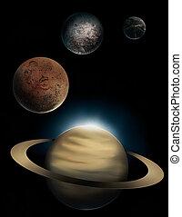 planeta, saturno, quadro, digital