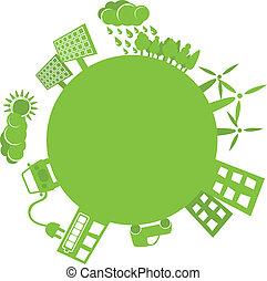 planeta, simples, verde, logotipo